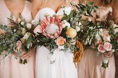 Pink protea filled bouquets shine in this botanical warehouse wedding  | Image by Sanford Creative