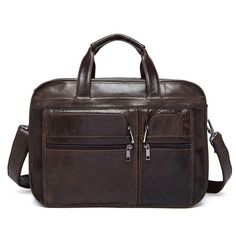 Men Genuine Leather 3 Main Bags 14 Inches Laptop Messenger Business Crossbody Ba - US$139.56