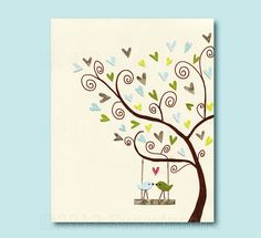 LOVE TREE Nursery Art Print, 8x10,Kids Room Decor, Baby / Children Wall Art - Tree,love Birds, Love, Swing, Hearts, Baby Blue, Green, Brown, via Etsy.