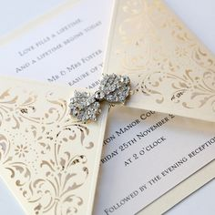 Ivory Gatefold Laser Cut Wedding Invitation - Vintage Wedding Stationery Scotland VOWS Award Nominee 2013