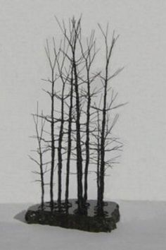 Contemporary Metal Bonsai Trees - Black Steel Wire Art - Modern Sculpture Forest