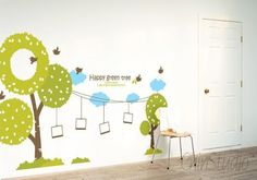 Vinyl Wall Decals wall sticker kids wall decal nursery vinyl decals-Happy green tree with cloud and birds