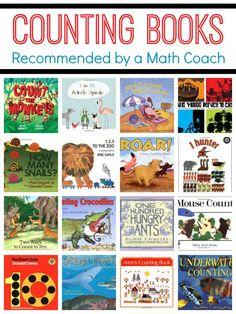 Counting Books-Top Picks from an Elementary Math Coach. Includes books for counting to 10 and beyond Math Classroom, Kindergarten Math, Teaching Math, Math Literacy, Preschool, Math Literature, Math Books, Children's Books, Fun Math