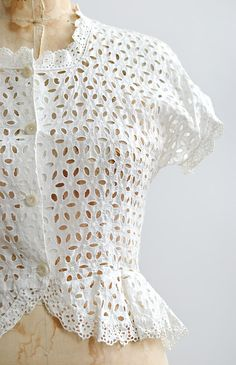 vintage 1940s white cotton eyelet peplum blouse