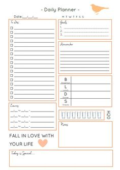 Make the Most of Everyday - Free Daily Planner Download Daily Planner Free, Free Daily Planner Printables, Free Planner Pages, Daily Planners, Daily Schedule Printable, Free Printables, Daily Checklist, Printable Planner Pages, Organisation Ideas Planners
