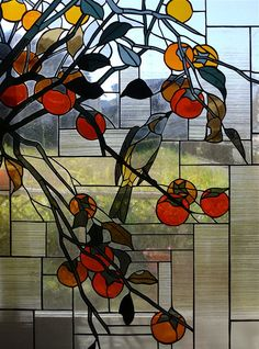 "Partial enlargement - 和風ステンドグラス「柿」 - Stained glass panel ""persimmon"" - inspired by original (Fukuda brush) - Glass Studio Tappu"