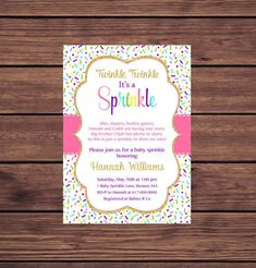 Baby Girl Sprinkle Invitation, Pink and Gold Baby Sprinkle Invitation, Pink Purple Blue Baby Girl Sprinkle, Printable 361 Baby Sprinkle Invitations, Photo Invitations, Pink Invitations, Digital Invitations, Baby Girl Sprinkle, Nikki Baby, Pink And Gold, Pink Purple, Blue