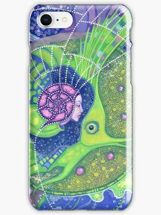 """""""Dream of the fullmoon"""" iPhone Cases & Skins by clipsocallipso   Redbubble  """"Dream of the full moon"""" - surreal art, underwater fantasy in blue, green and purple colors.  Spirit of water merging with the gigantic  green fish in the surrealistic marine landscape with huge waves, full moon and starry sky. Acrylic painting on paper. © Clipso-Callipso / Julia Khoroshikh #psychedelic #art #surreal #underwater #aquatic #nautical #mermaid  #magical #fullmoon"""