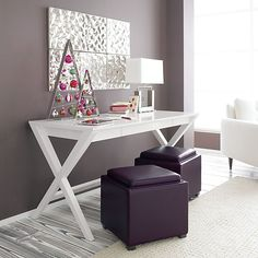 purple, grey, silver and white + a very cool painted floor!