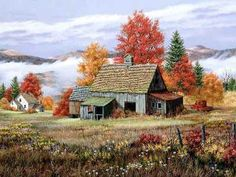 Old Farm House pieces) Country Barns, Old Barns, Country Living, Landscape Art, Landscape Paintings, Landscapes, Swan Painting, Autumn Scenes, Farm Art