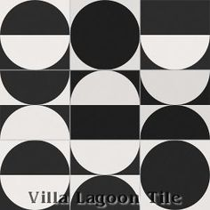 """""""Full Moon Rising"""" Encaustic Cement Tile is a collection of 4 tiles that offer unlimited design potential. Check the Villa Lagoon Tile site to see some artful arrangements. Great for floors or walls. Stock tile is black and white but it can be ordered in colors."""