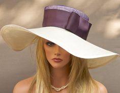 Wide Brim Kentucky Derby Hat Cream & Plum Church by AwardDesign, $130.00