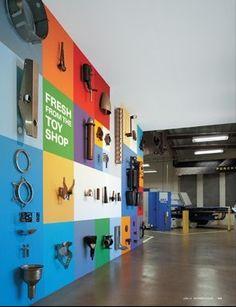 display, color blocks, bulletin boards