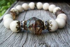 White Fossil Stone Bracelet Rhinestone and Amber by BonArtsStudio