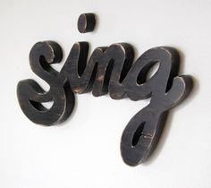 music sign - sign sign - wood wall phrase - painted cottage style - lamp black sign. $54.00, via Etsy.