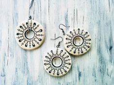 HandPainted Clay Jewelleries Handmade Crafts, Handmade Jewelry, Clay Jewelry, Washer Necklace, Clock, Hand Painted, Decor, Watch, Decoration