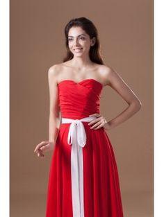 Chiffon Sweetheart Floor Length Column Sash Prom Dress