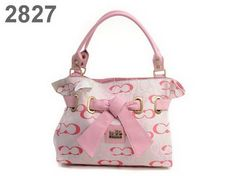 Coach Shoulder Bags Pink C 2827 and Leather Bowknot