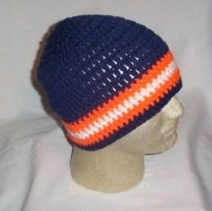 3660ed070 Hand Crochet Chicago Bears Beanie - Ready to Ship - One Size Fits Most  Knitted Hats