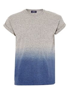 GREY TEXTURED DIP DYE T-SHIRT - Mens T-shirts  - Clothing
