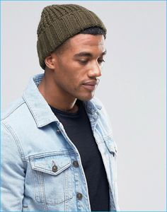 883e82c61fa ASOS Men s Khaki Chunky Fisherman Beanie Guys In Beanies