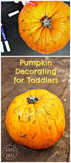 Toddler pumpkin decorating for Halloween