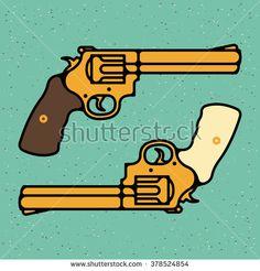One thin line, flat vintage retro gun, revolver, pistol. Vector illustration