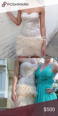 JOVANI dress. GORGEOUS champagne color. Feathered on the bottom and rainbow jewels on the top. Only worn one time for my junior prom. In GREAT condition (:   •••• this dress desperately needs a new home and a new event to go to ❤️❤️❤️❤️ was worn for prom but would be great to many formal occasions also. DEFINITELY WILLING TO WORK OUT A GREAT DEAL! Jovani Dresses Prom