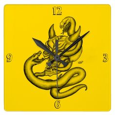 Skull - Devil Head with Snake Square Wall Clock - NEW by Krisi ArtKSZP on Zazzle
