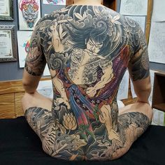 Back Tattoos For Guys, Full Back Tattoos, Full Body Tattoo, Body Art Tattoos, Tatoos, Shogun Tattoo, Samurai Tattoo, Japanese Tiger Tattoo, Tatted Men