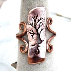 Copper Ring - Tree with Curling Roots