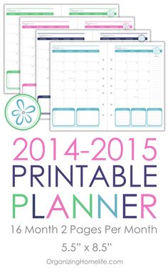 2014-2015 Printable Calendar Planner Size via Organizing Homelife