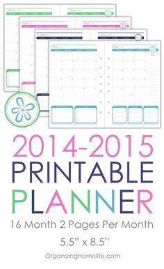 2014-2015 Printable Calendar Planner Size via Organizing Homelife