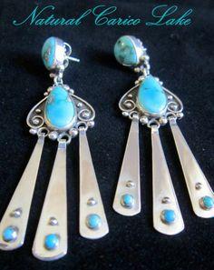 "Top Grade Carico Lake Turquoise/925 Earrings by Santa Fe Artist ""ANNELISE"" #AnneliseWilliamson"