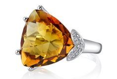 Ande Jewelry trillion citrine and diamond ring