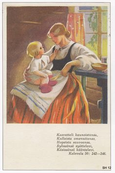 Martta Wendelin was a Finnish artist whose work was widely used to illustrate fairy tales and books, postcards, school books, magazine and book covers. Sara Kay, Finland Travel, Carl Larsson, Children's Literature, Mother And Child, Vintage Pictures, Little People, Quilting Designs, Martini