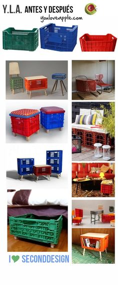 From fruit baskets you can make various decorations for the home. Wall cabinets from the fruit shop, Milk Crate Furniture, Furniture Decor, Painted Baskets, Plastic Crates, Fruit Shop, Deco Addict, Milk Crates, Ideas Para Organizar, Diy And Crafts