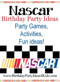 Nascar theme Birthday Party Ideas Fun Nascar racing theme ideas for party games, activities, invitations, decorations, party food, party favors and more!   http://www.birthdaypartyideas4kids.com/nascar-birthday-party.htm