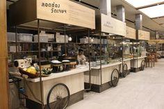 Central Embassy Eathai – Bangkok's Upmarket Foodcourt Gathers The Best Of Thai Cuisines Mall Design, Kiosk Design, Retail Design, Hotel Restaurant, Restaurant Design, Thai Restaurant, Stand Modular, Food Court Design, Food Kiosk
