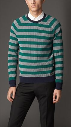Burberry London Contrast Stripe Ribbed Cotton Sweater
