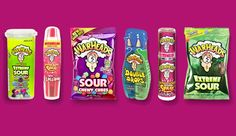 Look at all the ways you can enjoy Warheads! Favorite candy hands down. I've never had lollipop OR Double Drops.not pictured: candy canes :) Candy Brands, Sour Candy, Favorite Candy, Food Goals, Skull Design, Science Fair, 10th Birthday, Candyland, Candy Colors
