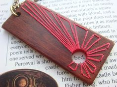 embroidered wood pendant <3 <3