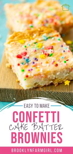 Easy to make sprinkle Confetti Cake Batter Brownies recipe. These funfetti brownies are moist and so ooey gooey good! They make the best birthday cake brownies! Confetti Cake Recipes, Cake Mix Recipes, Best Dessert Recipes, Brownie Recipes, Fun Desserts, Easter Desserts, Sweet Recipes, Yummy Recipes
