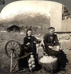 Nordic spinning. Note the woman on the right side is handcarding, while the…