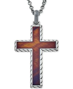 Esquire Men's Jewelry Red Tiger Eye (40 x 27-1/2mm) Cross Pendant Necklace in Sterling Silver, First at Macy's