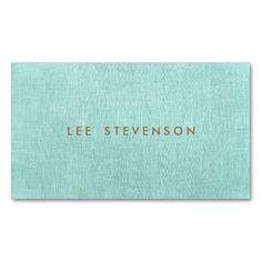 Simple, Turquoise Blue, Linen Look, Minimalist Business Card Template