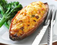 Corn and tuna sweet potatoes