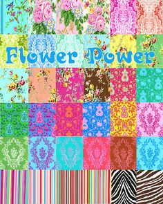 Flower Power  Quite possibly THE greatest fabric collection ever designed.  Fabrics by Jennifer Paganelli for Freespirit