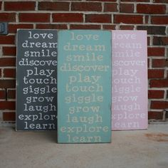 The First Family Rules - Distressed Typography Word Art Sign - Perfect for a Nursery - You Pick the Color     Etsy-Barn Owl Primitives     $80