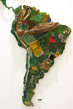 World map made from computer parts by artist Susan Stockwell
